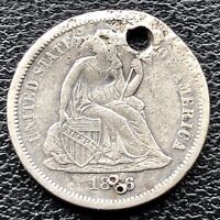 1866 S Seated Liberty Dime 10c San Francisco RARE High Grade XF Details  #15140