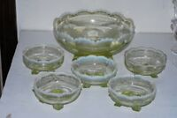 6 Jefferson Glass EAPG Vaseline Yellow Opalecent Berry Bowl Swag With Brackets
