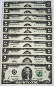 10 Consecutive Serial # Uncirculated $2 Bills (2017) in 10-Page LIMITED ED ALBUM