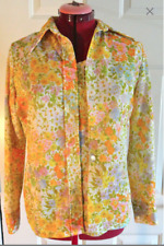 70's Vintage Brookvalley Long Sleeve Pastel Floral Blouse & Camisole Shell M