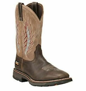 Ariat Mens WorkHog Mesteno II Western Work Boots Rustic Brown/Stone #10018556