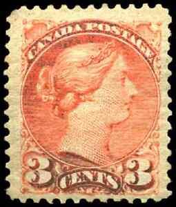 Canada #41 mint F-VF OG H DG 1888 Queen Victoria 3c bright vermilion Small Queen