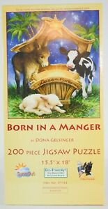 Born In A Manger 200 Pc. Jigsaw Puzzle Christmas Holiday Donna Gelsinger 15.5x18