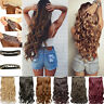 Women's Thick Human Hair One Piece Full Head Clip In Hair Extensions Curls Wavy