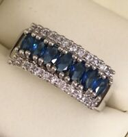 Vintage Jewelry Gold Ring with Blue White Sapphires Antique Deco Jewelry sz Z