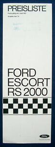 Preisliste Ford Escort RS2000 6/1973