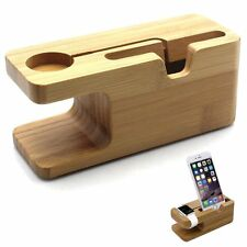 Bambú Madera Soporte de Carga Base para Apple Relojes IPHONE 6 5 4