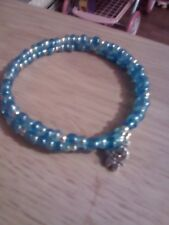 "LOVELY ""MEMORY WIRE BLUES HANDMADE BRACELET /MOTHERS DAY/BIRTHDAY/BABY SHOWER"