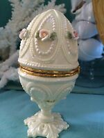 NWT Collectible Porcelain Easter Egg TRINKET BOX PIN CUSHION *awesome gift