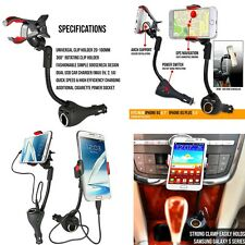 Auto Car 360° Rotable Mount Holder 3in1 Dual USB Charger Port+Cigarette Lighter#