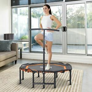 HOMCOM Trampoline Outdoor Bouncer Jumper w/ 3-Level Adjust Handle - Orange