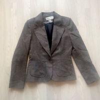 WAREHOUSE Herringbone Tweed Wool Blend Jacket Brown UK 14
