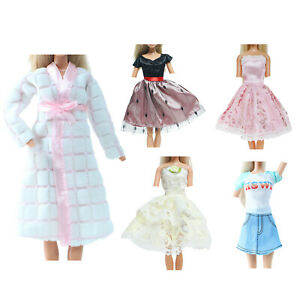 5x Elegant Lady Outfit Mini Dress Bath Robe Party Clothes for 11.5 inch Doll Toy