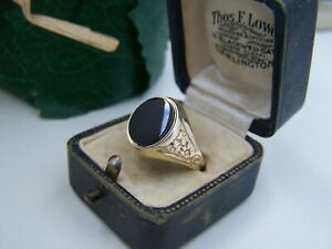 VINTAGE GOLD WASHED SOLID STERLING SILVER ONYX SIGNET RING SIZE W 11 BIKER GOTH