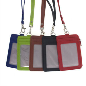 GOGO Leather ID Badge Holder with Zip Pocket and Neck Lanyard, Vertical