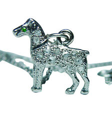 Vintage Rose cut Diamond Platinum Dog Necklace Charm Figural Estate