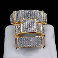 Diamond 14K Yellow Gold Finish His & Her Wedding Band Engagement Trio Ring Set
