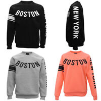 New Adult Unisex Pullover Fleece Lined Jumper Mens Long Sleeve Crew Neck Sweater
