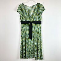 Van Heusen sz 10 Dress Green Blue & Black Circle Design Short Sleeves Stretch