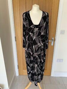 Sahara Black Print Jersey Dress UK 14/16 Drape Pockets Stretch Rayon Monochrome