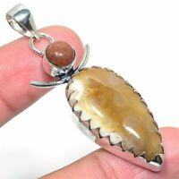 "Fossil""Coral Sunstone Handmade Ethnic Style Jewelry Pendant 2.40"" R-VJ-10175"