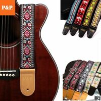 Guitar Strap Embroidered Adjustable Vintage Woven Bass Electric Acoustic Guitars
