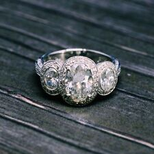 2.76 Ct. Handcrafted Natural Diamond 3-Stone Halo MicroPave Oval Engagement Ring