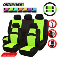 Universal Car Seat Covers Green Black Steering Wheel Cover For SUV Sedan Van