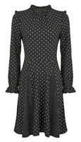 Dorothy Perkins Black Spot Print Frill Neck Swing Dress Size UK 8 New With Tags