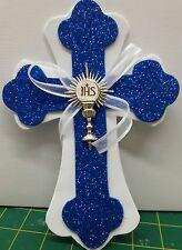 10 First Communion Cross Foam Decoration for Center Piece royal BLUE-COMUNION