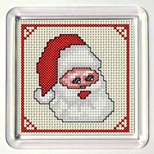 """Cross Stitch Coaster kit, """"Jolly Santa"""", acrylic coaster included"""
