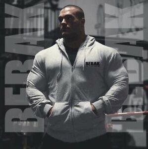 Hoodies Mens Gym Bodybuilding ZIPPER Hoodie Workout Clothing Sweatshirt BEBAK