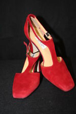 SACHA London Red Suede Square Toe Strappy Heels Womens Size 8.5B Spain-B124