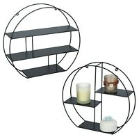 Black Wire Metal 3 Tier Round Floating Wall Hanging Shelf Display Storage Shelve