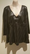 SIZE 16 / SIZE XL WOMEN'S BLACK & SILVER FOIL 3/4 SLEEVE 'KATIES'  TOP BNWT