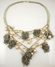 Gold Tone Chunky Vintage Statement Necklace St. John Multi Strands Pearl Cluster