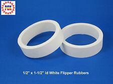 """Two Standard Size 1/2"""" x 1-1/2"""" id White Flipper Rubbers (for 3"""" flipper bat)"""