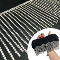 1Yd Shiny Rhinestone Crystal Chain Fringe Trim Sewing Craft Hat Bags Accessories