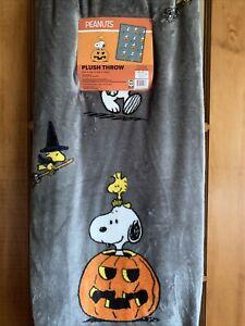 "New Peanuts Snoopy & Woodstock Halloween Pumpkin Fall Throw Blanket 50""x70"""