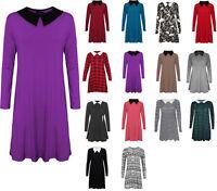Women's Long Sleeve Peter Pan Plain Stretchy Loose Jersey Swing Plus Size Dress