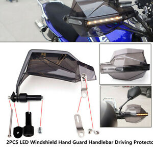 Motorcycle LED Windshield Left/Right Hand Guard Signal Light Handlebar Protector