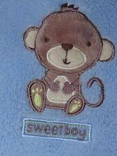 Cutie Pie Blue Baby Blanket Monkey soft plush shepra boy nursery crib Sweet Boy