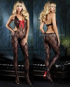 BOW LACE Bodystocking RED SATIN RIBBON Lace-Up CUTOUT Bodysuit DEEP-V Crotchless