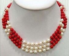 3 Rows Real 7-8mm White Pearl & 8mm Red Coral  Necklace 17-19""