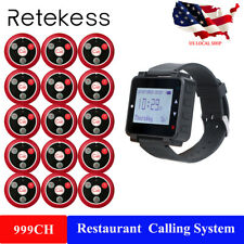 Wireless Restaurant Calling Paging System Watch Receiver+15Table Button Bell Us