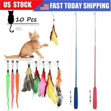 New listing Pet Interactive Toy Funny Cat Toy Set Telescopic Stick Replacement Feather Bell