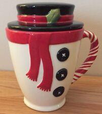 "Peppermint Snowman Christmas Mug w/Top Hat Lid 5.5""H w/Lid by Hallmark"