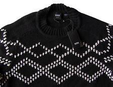 Men's HUGO BOSS Black White Crew Neck Sweater XL X-Large NWT NEW $325+ Slim Fit