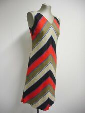 Gorgeous dress by Hobbs London multicolour geometric stripe 100% flax/linen UK10