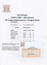 Joe Johnson Falkirk 1950-1951 (préstamo) Original Corte/tarjeta firmada a mano